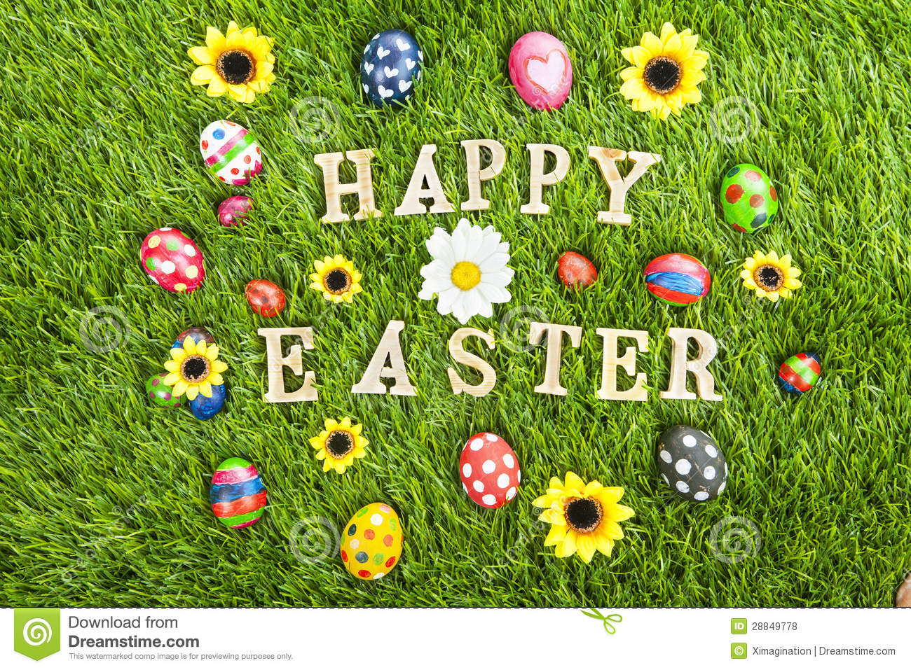 Happy Easter Eggs On Grass Horizontal Royalty Free Stock Photos ...