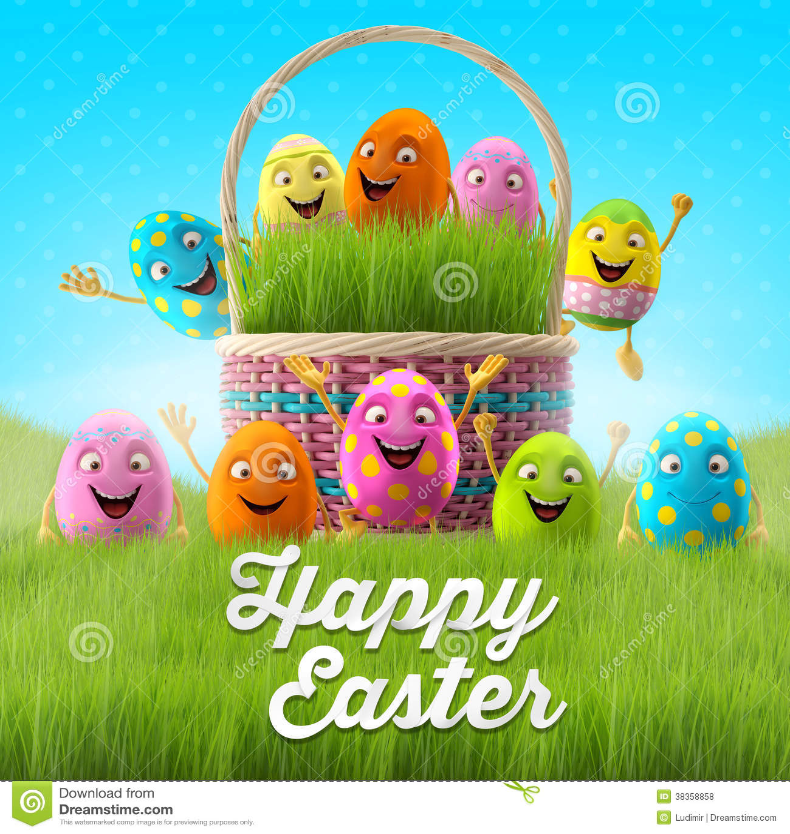 happy easter eggs merry 3d set spring series happy cartoon