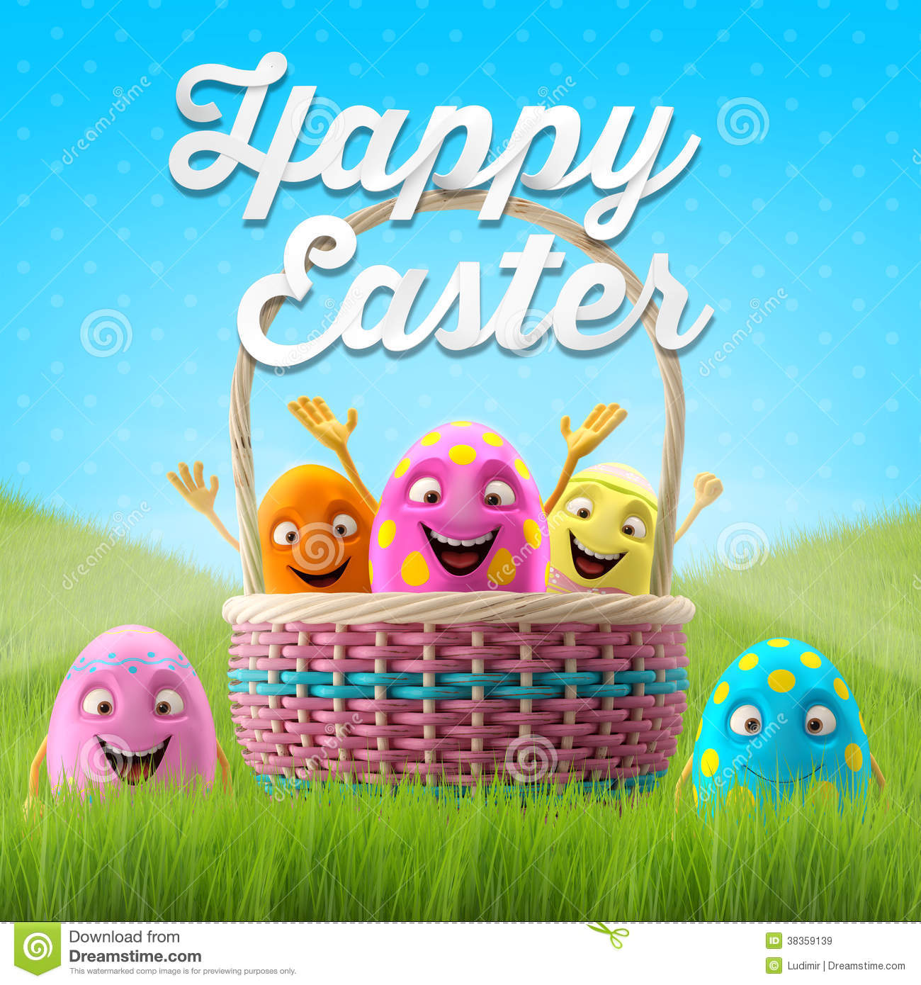 Happy Easter Eggs Merry 3D Set Spring Series Cartoon Objects Banner Postcard Fresh Event
