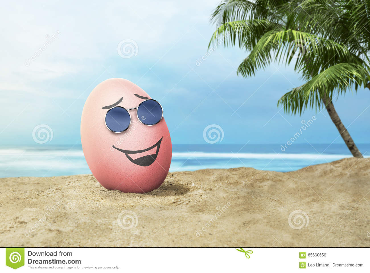 Happy Easter Eggs With Sunglasses In The Beach Stock Photo