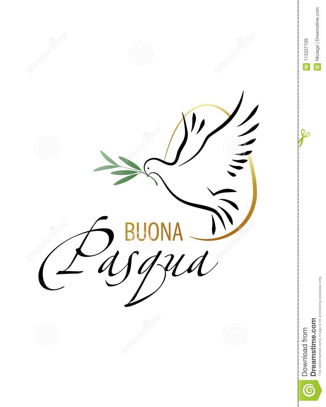 Happy Easter. Elegant inscription `Happy Easter` in italian language with Dove and Olive branch.