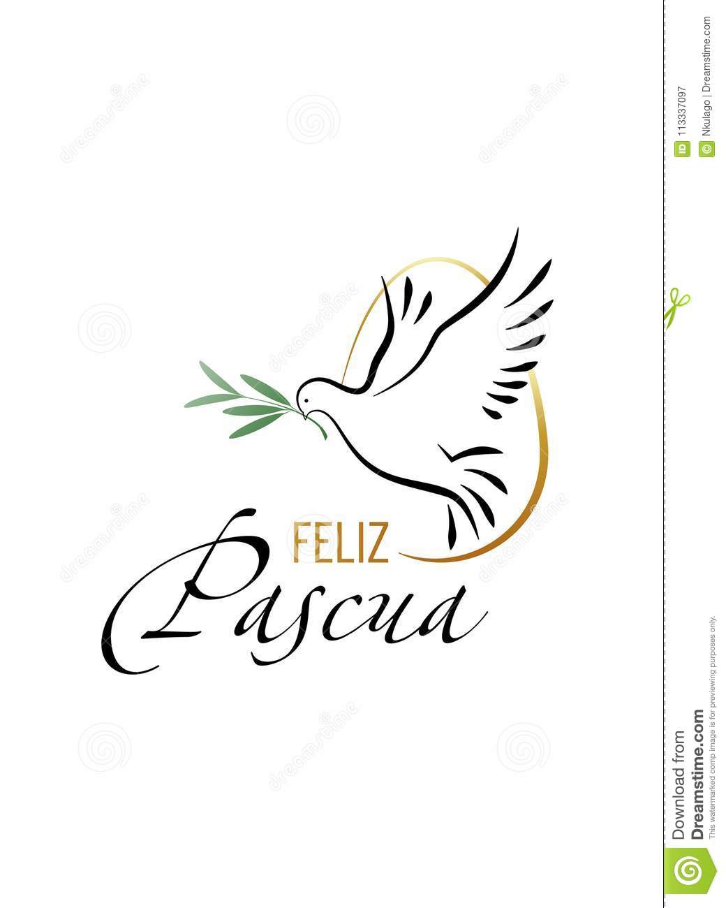 Happy Easter. Elegant inscription `Happy Easter` in spanish language with Dove and Olive branch.