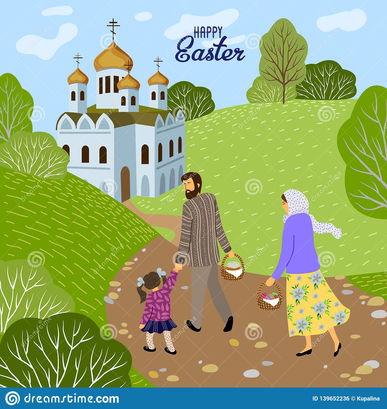 Happy Easter Family With A Child Going To An Orthodox Church To