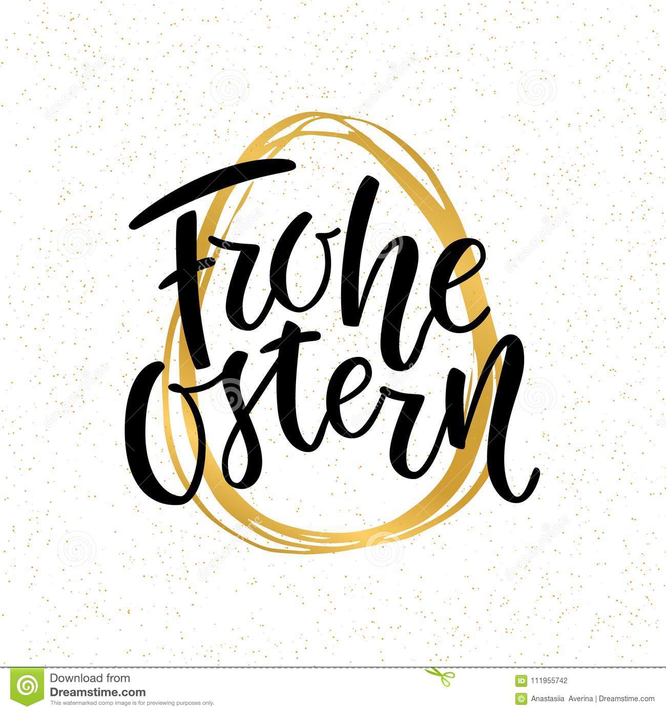 Happy Easter German text lettering calligraphy on golden hand-drawn egg. Frohe Ostern for Paschal greeting card. Vector
