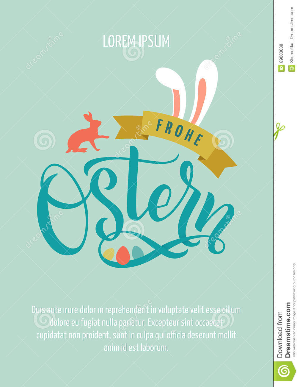 Happy Easter Germany Calligraphy Greeting Card Modern Brush
