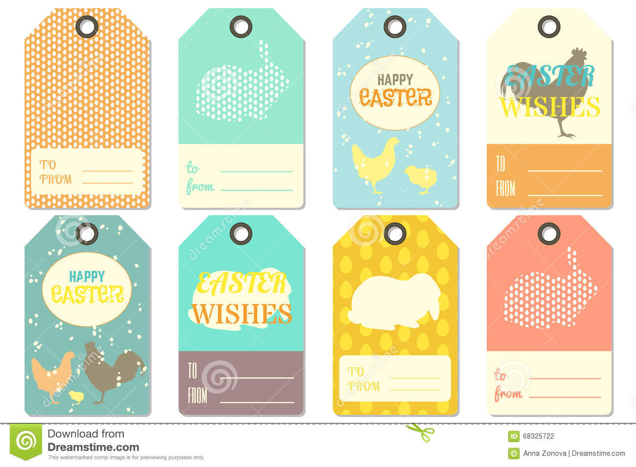 easter name tags template - happy easter gift tags stock vector illustration of