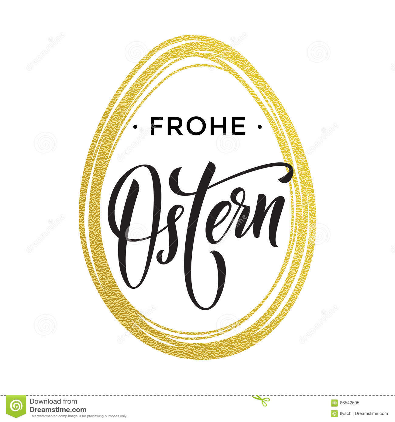 Happy Easter Gold Egg German Frohe Oster Paschal Greeting Stock