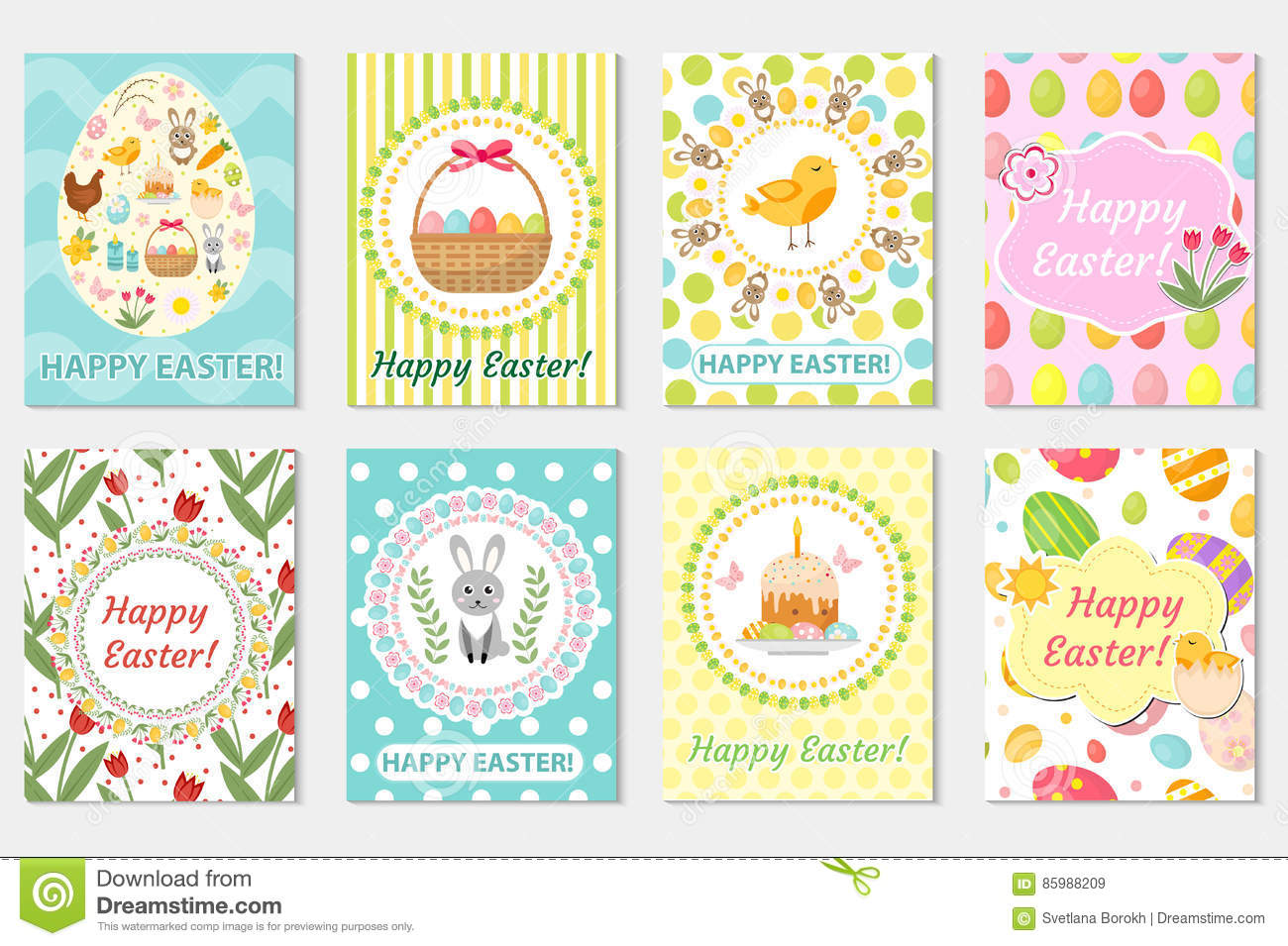 Happy Spring Greeting Card Illustration Vector Image 39787595 – Easter Postcard Template