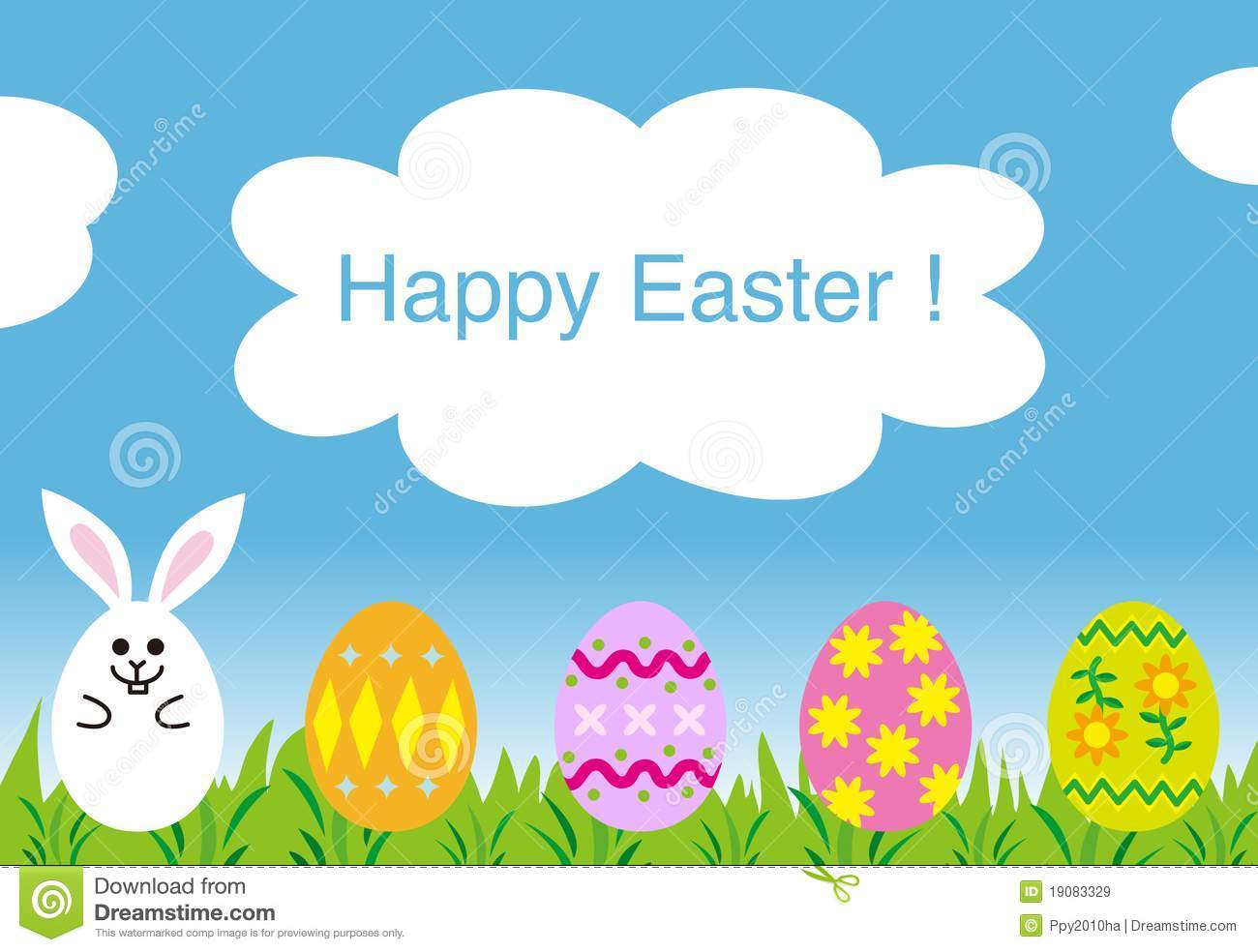 Happy Easter Greeting Card Easter Bunny Eggs Stock Illustration