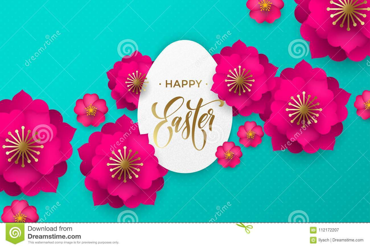 Happy Easter Greeting Card Of Egg Paper Cut Spring Flowers And Gold