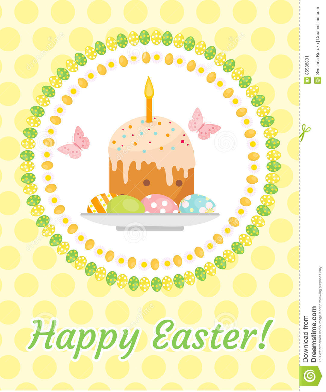 Happy Easter Greeting Card Flyer Poster With Easter Cake And – Easter Greeting Card Template