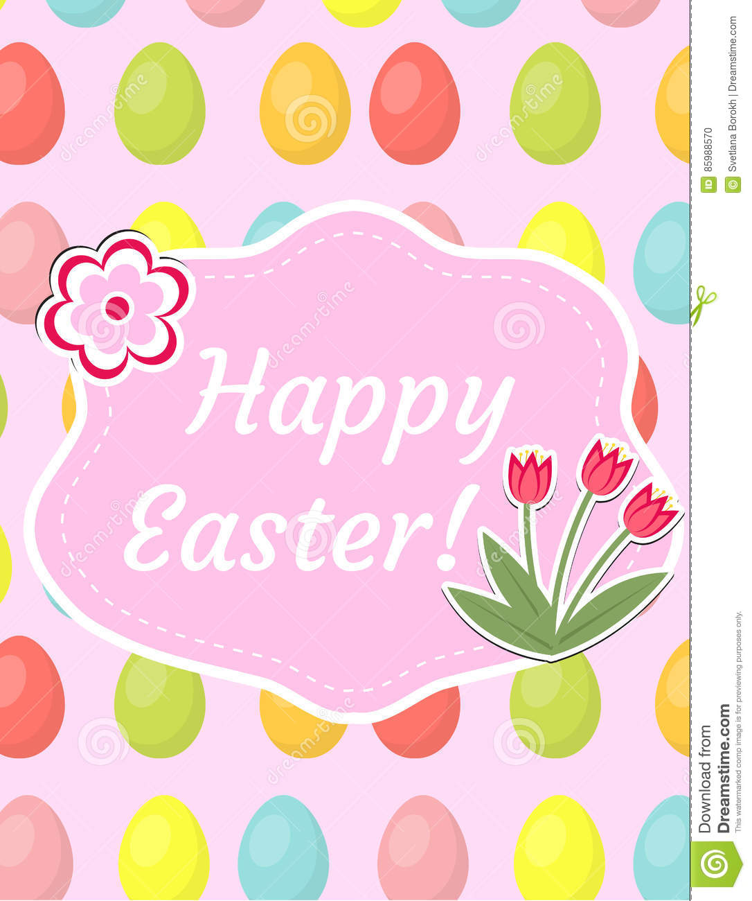 Happy Easter Greeting Card, Flyer, Poster With Red Tulips ...
