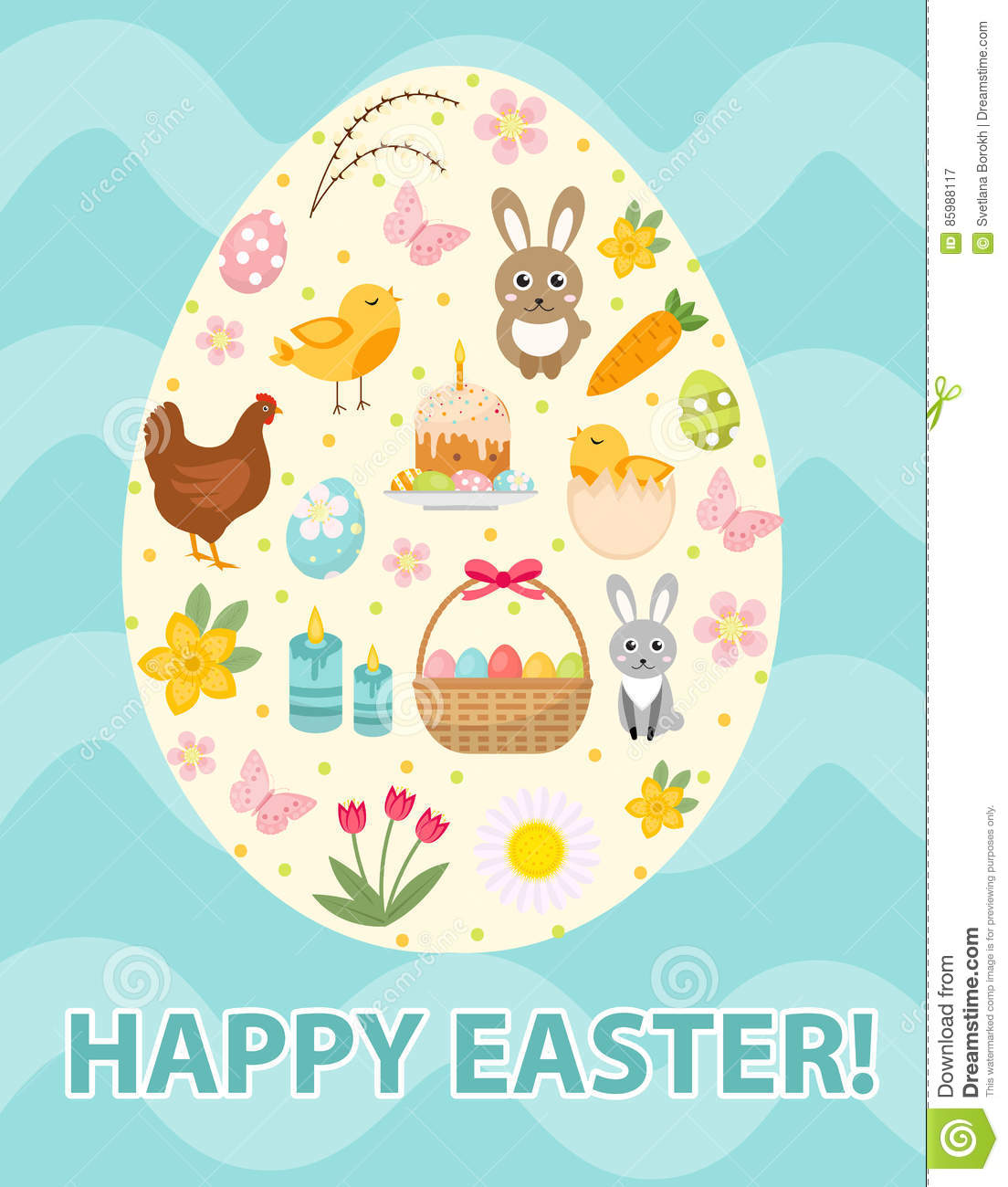 Happy Easter Greeting Card Flyer Poster With A Set Icons Symbols