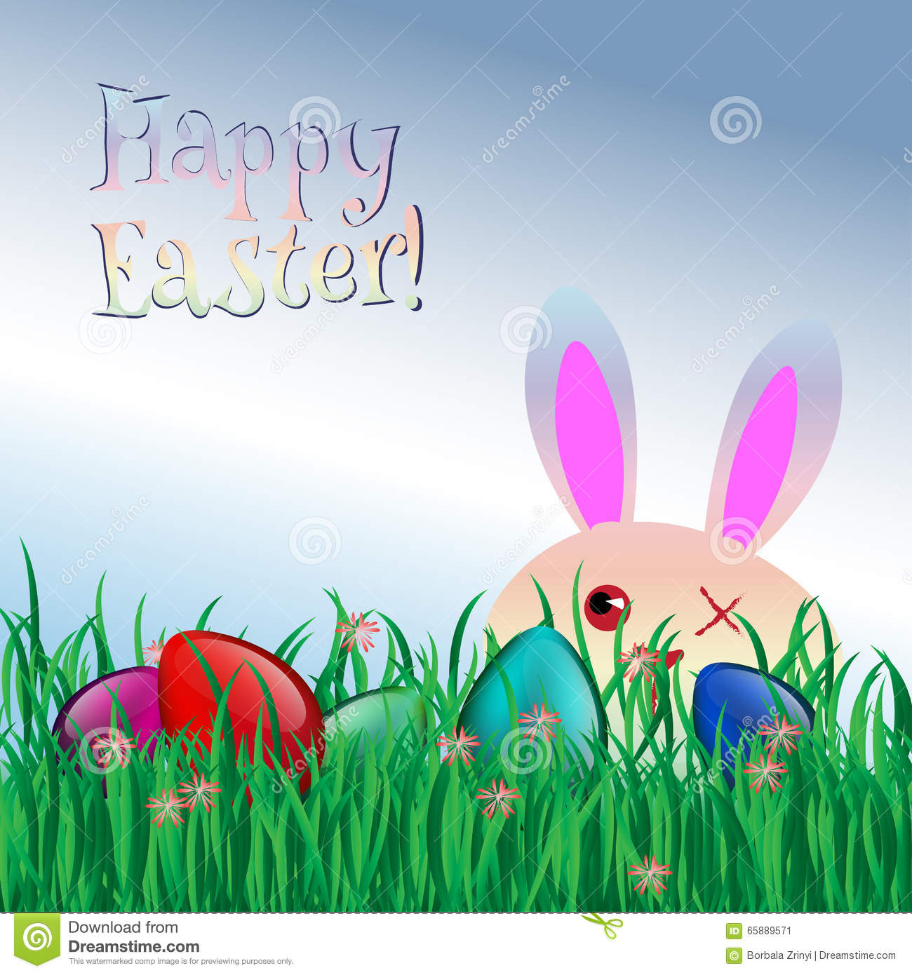 Happy easter greeting card funny bunny grass eggs stock vector happy easter greeting card funny bunny grass eggs kristyandbryce Choice Image