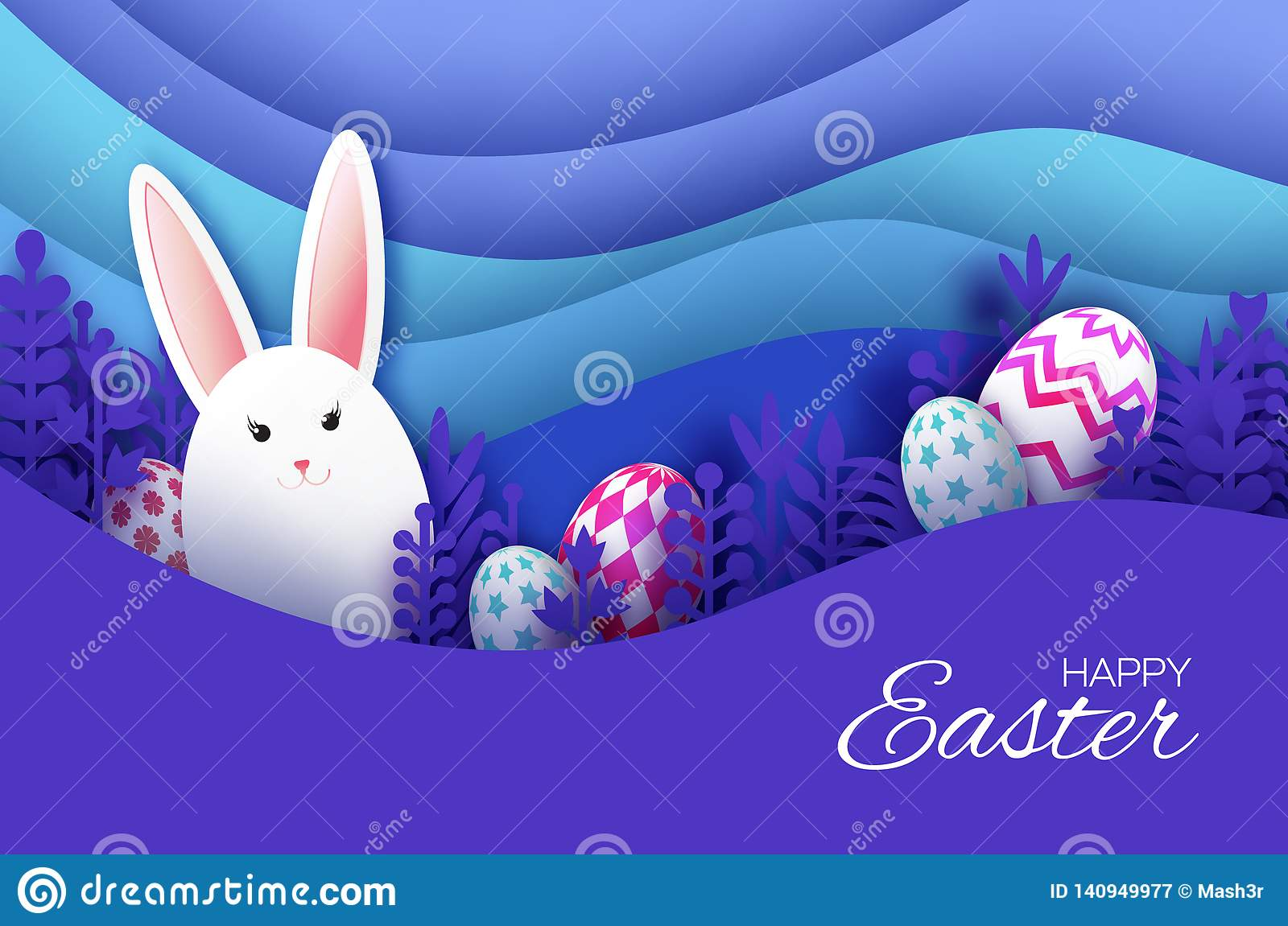 Happy Easter Greeting card with paper cut bunny rabbit, spring flowers, colorful eggs. Origami layered landscape. Place