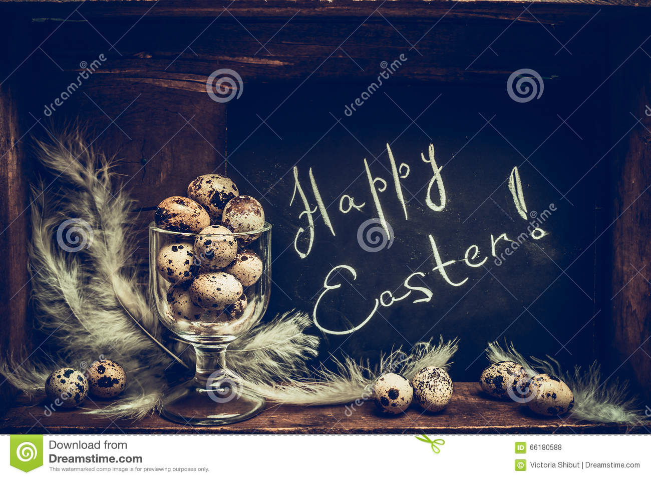 Download Happy Easter Greeting Card With Quail Eggs In Glass And Chalkboard Over Rustic Wooden Background