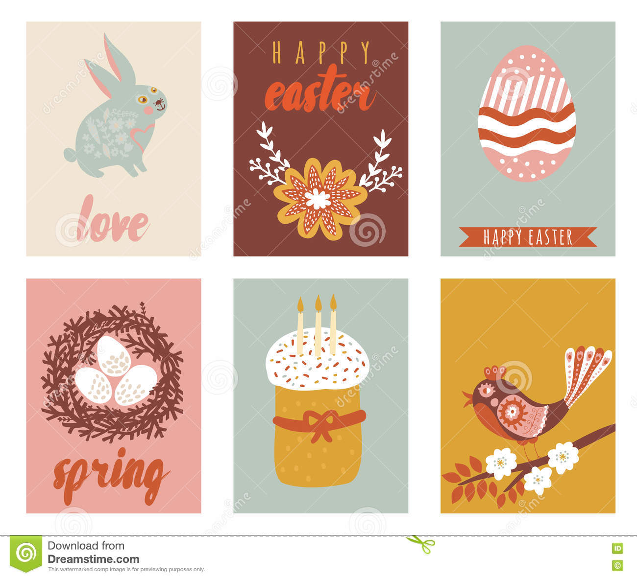 Happy Easter Greeting Cards Template With Easter Eggs Stock Vector