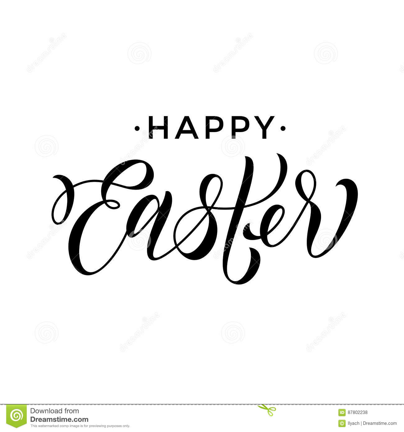 Happy Easter Greeting Paschal Text Calligraphy Stock Vector