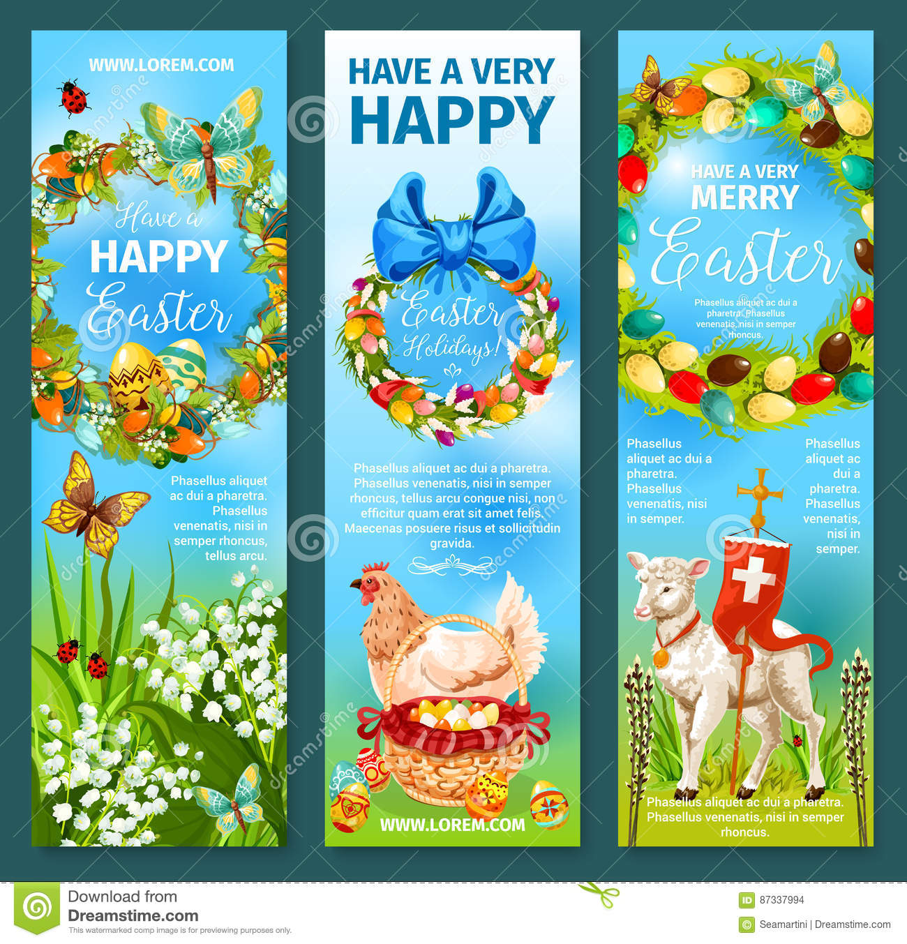 Happy Easter Greetings Banner Template Set Design Stock ...