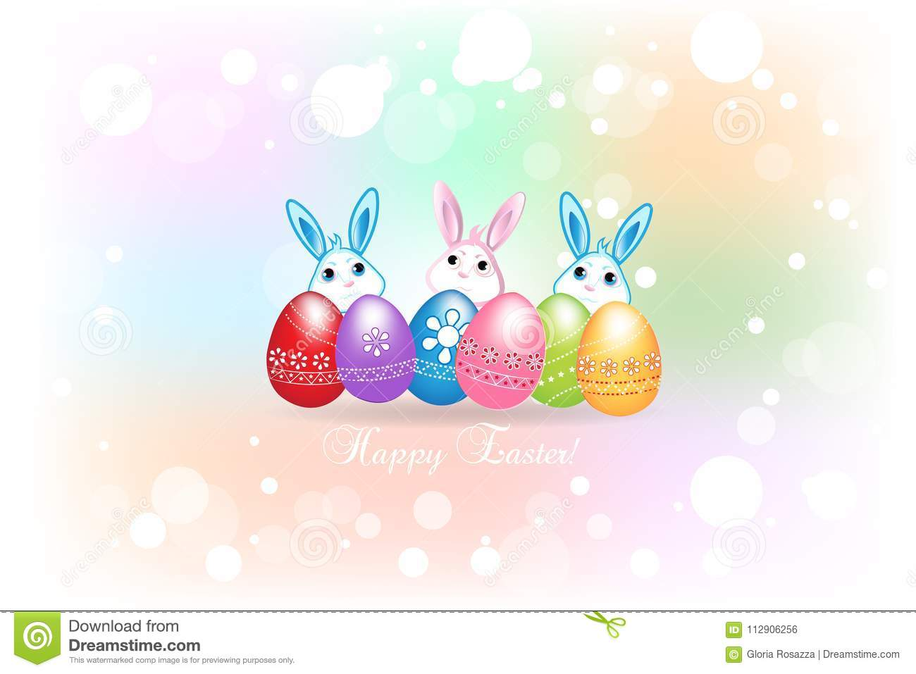Happy Easter Greetings Card With Eggs And Bunnies Colorful Icon Logo