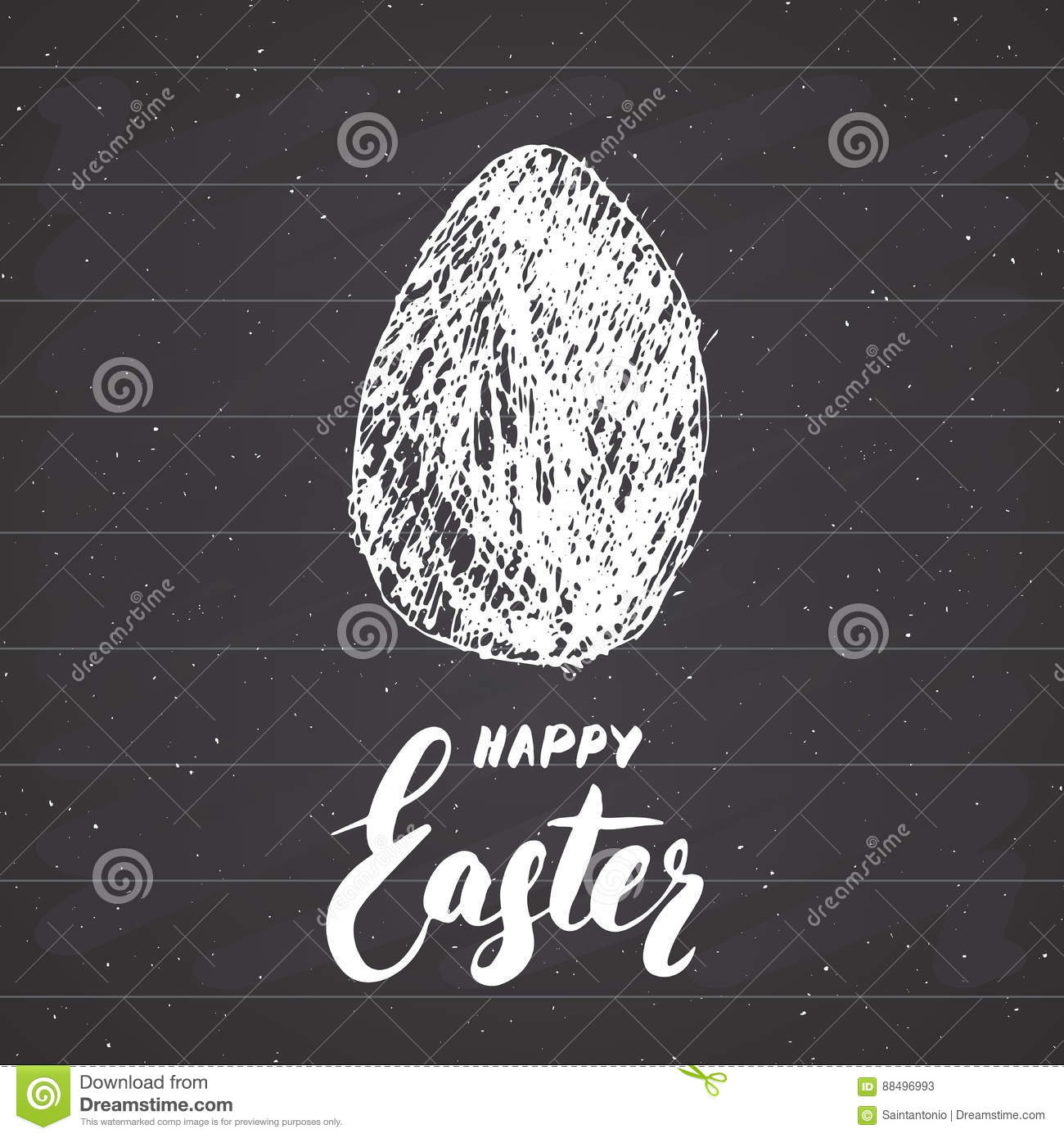 Happy Easter Hand Drawn Greeting Card With Lettering And