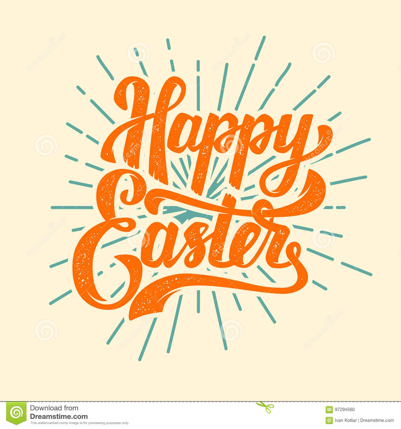 Happy Easter Hand Drawn Lettering Phrase Design Elements For P