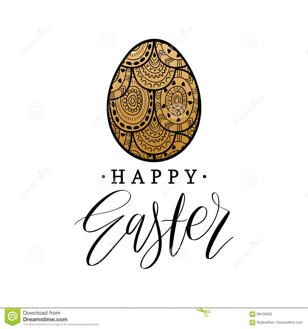Happy Easter Hand Lettering Greeting Card With Egg Religious