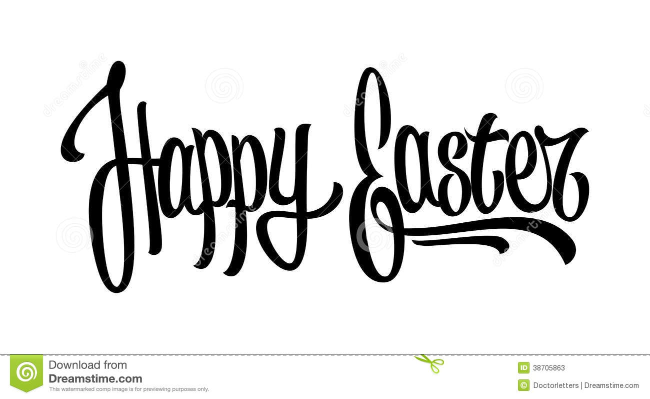 Happy easter hand lettering stock photos image
