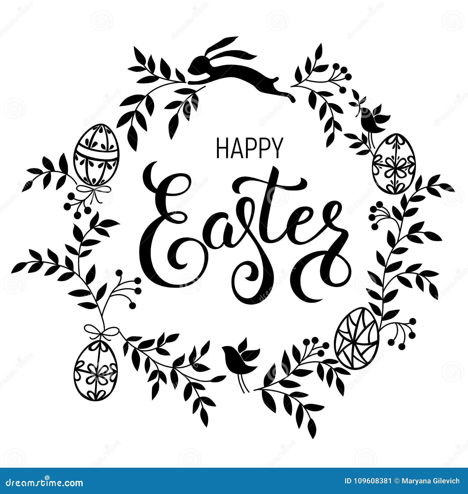 Happy Easter Handwritten Calligraphic Vector Illustration ...