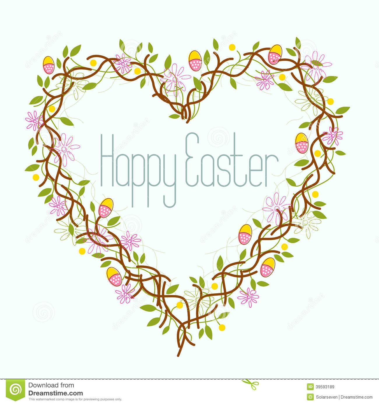 Happy Easter Heart Wreath Stock Vector Image Of Wreath