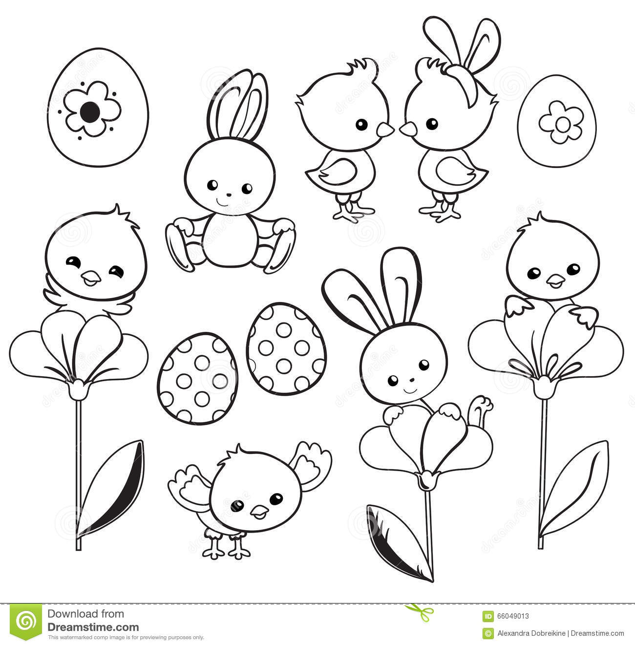 Download Happy Easter Holiday Illustration With Cute Chicken Bunny Duck Lamb Stock Vector