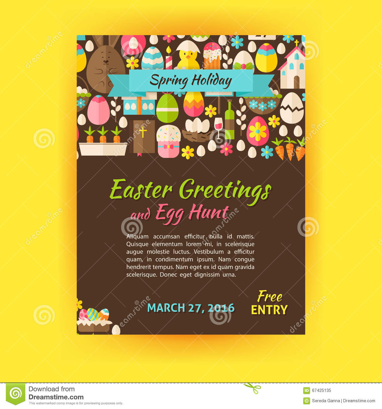 happy easter holiday vector template poster flat style stock happy easter holiday vector template poster flat style