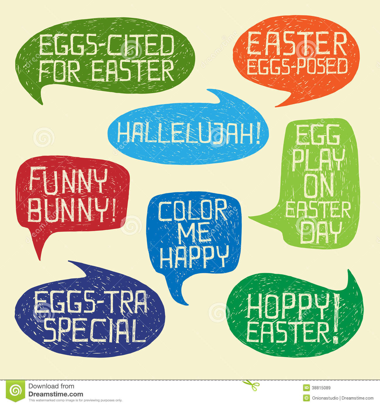 Happy Easter Humorous Phrases On Bubble Speeches Stock Vector