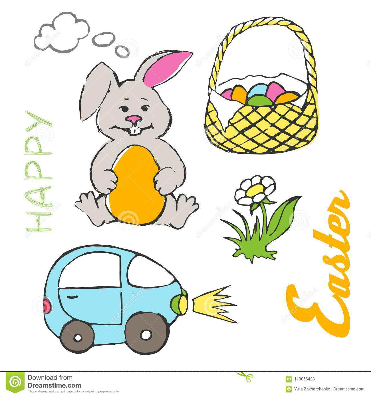 Easter Bunny Reese S Egg Cars: Happy Easter Illustration Stock Vector. Illustration Of