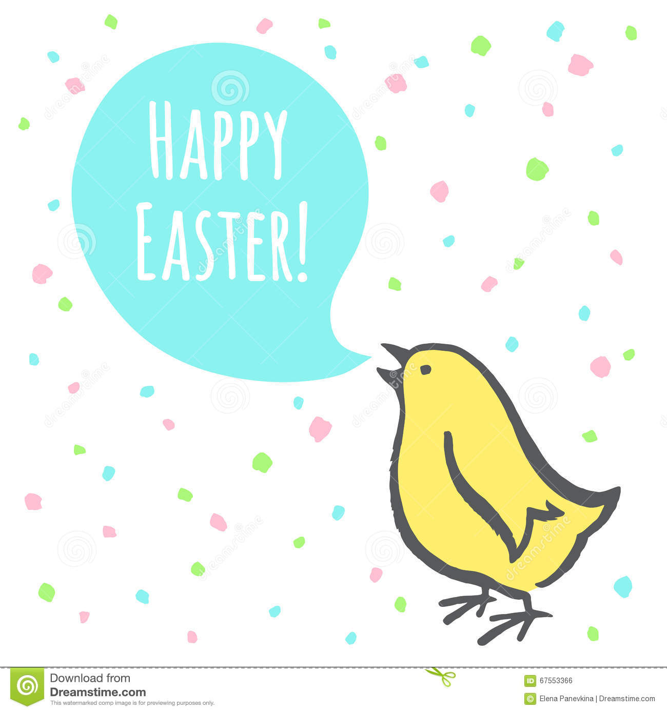Simple Easter Illustration With Lettering Cute Free Hand Drawing Of Chick Speech Bubble Doodle Style Chicken Saying Happy
