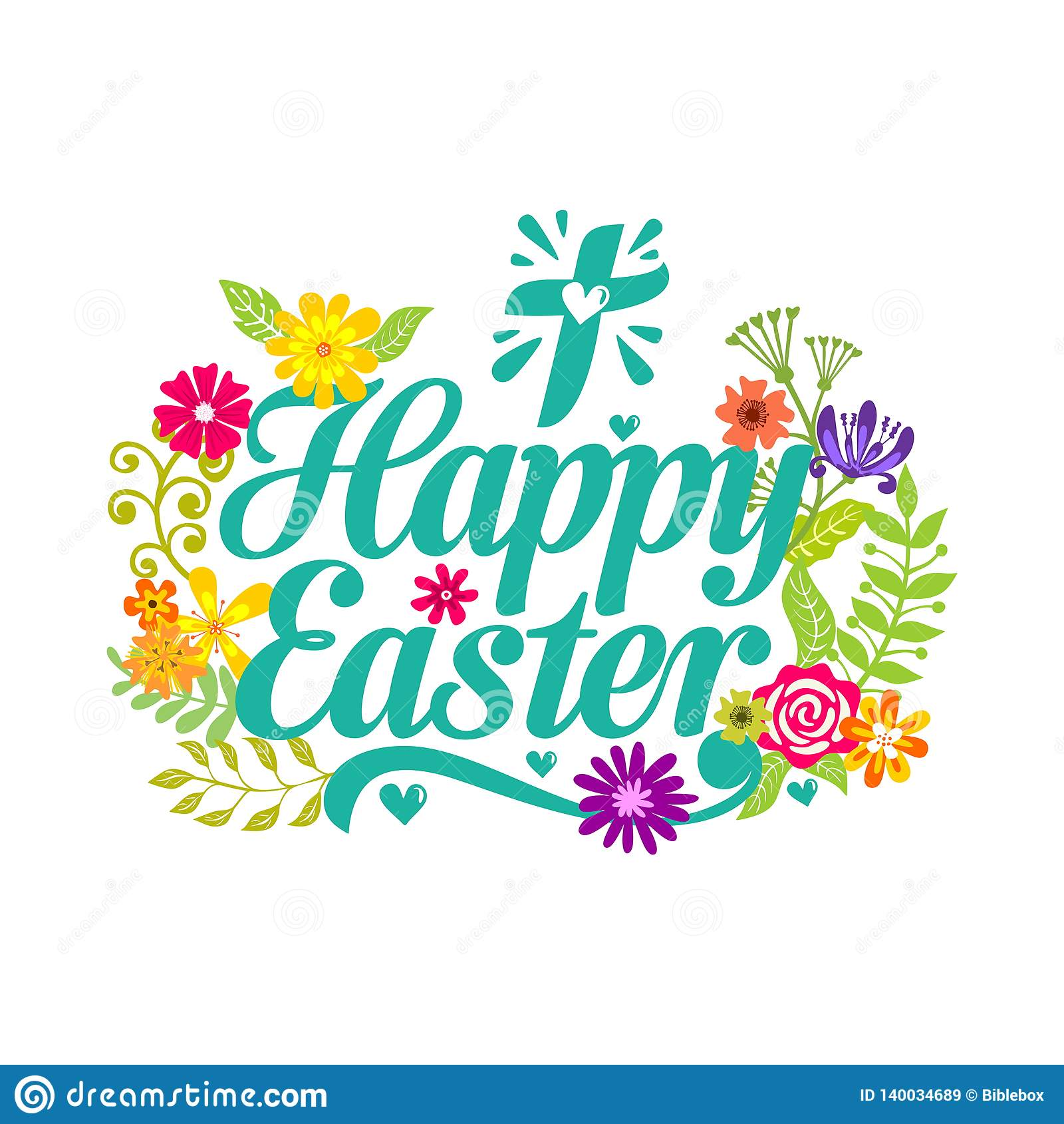 Happy Easter  Lettering And Graphic Elements  Cross Of Jesus Christ