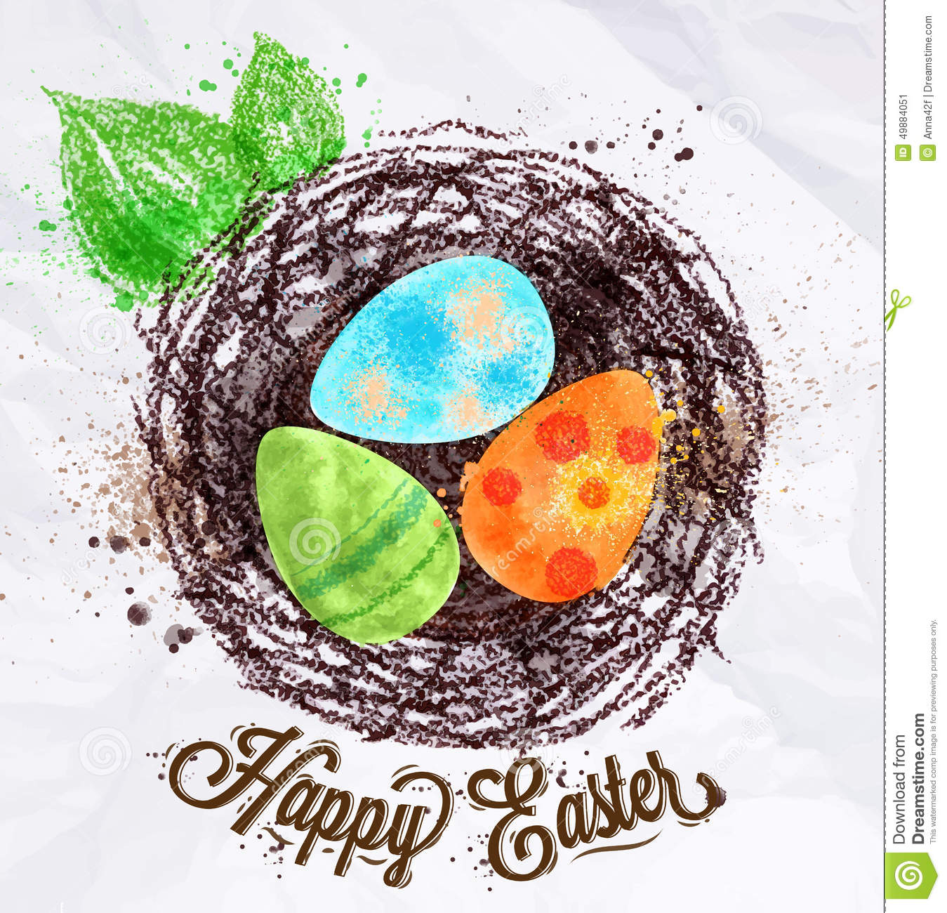 Happy Easter Nest Stock Vector Image 49884051