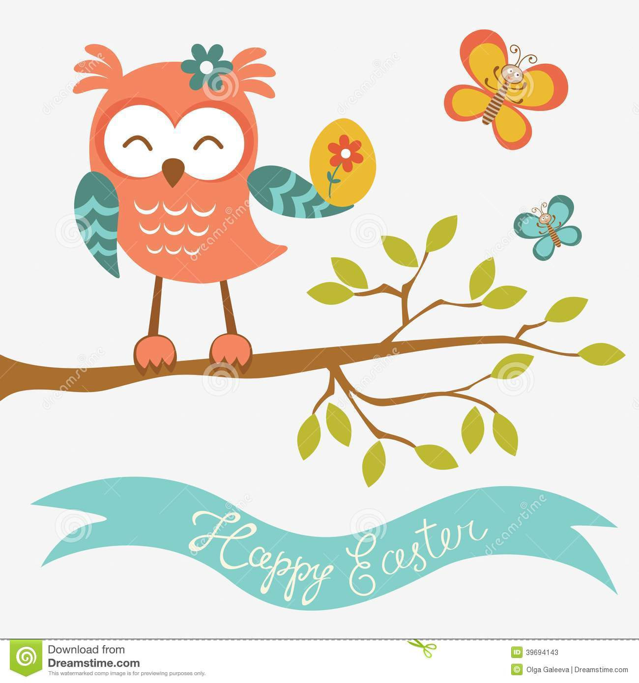 Happy Easter Owl Sitting On A Branch Stock Vector - Image ...