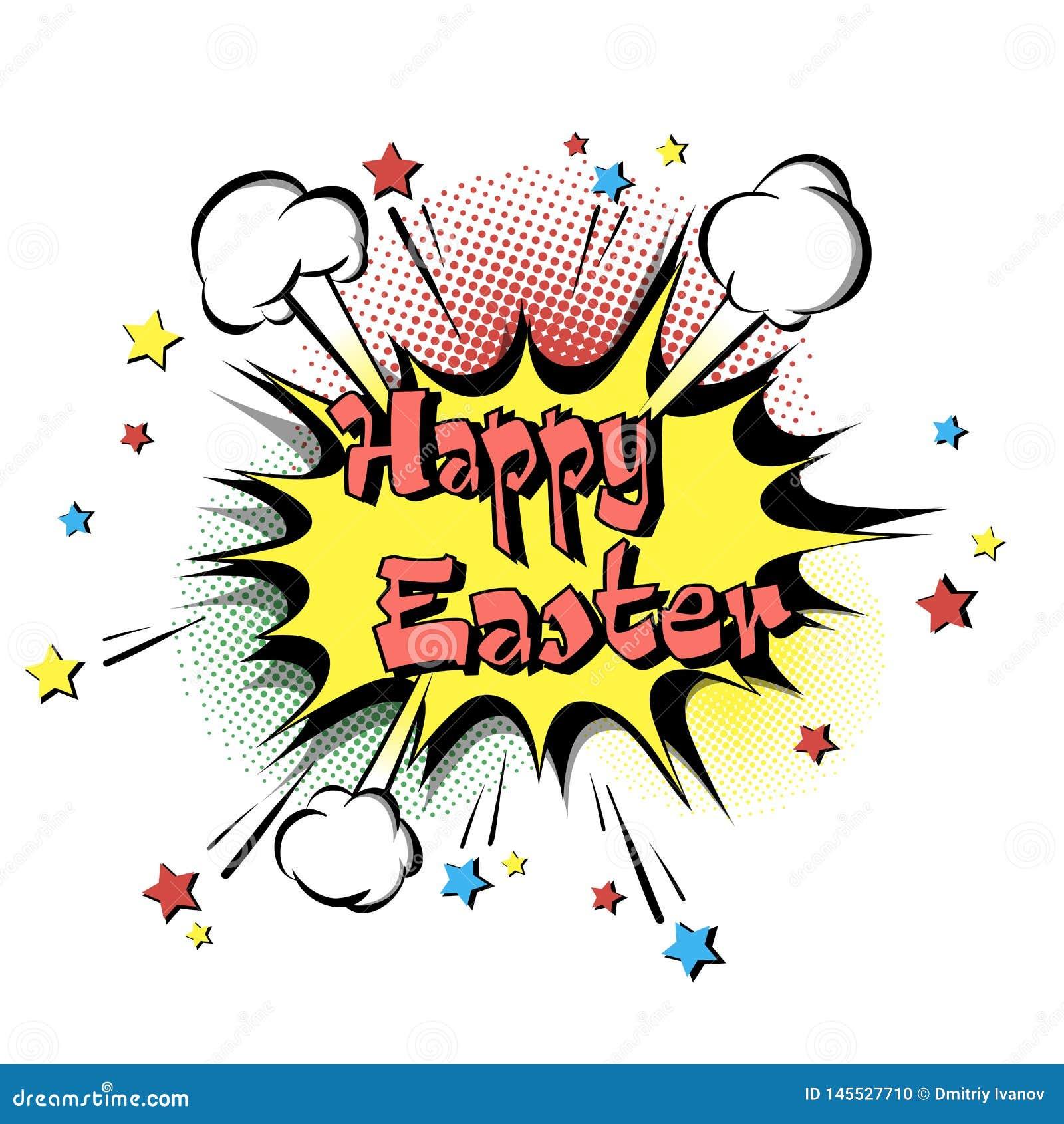Happy Easter pop art stock vector  Illustration of funny