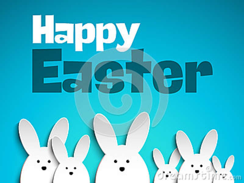 Happy Easter Rabbit Bunny On Blue Background Stock Vector