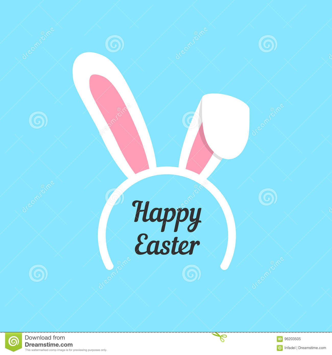 Happy Easter With Rabbit Ears Mask Stock Vector Illustration Of