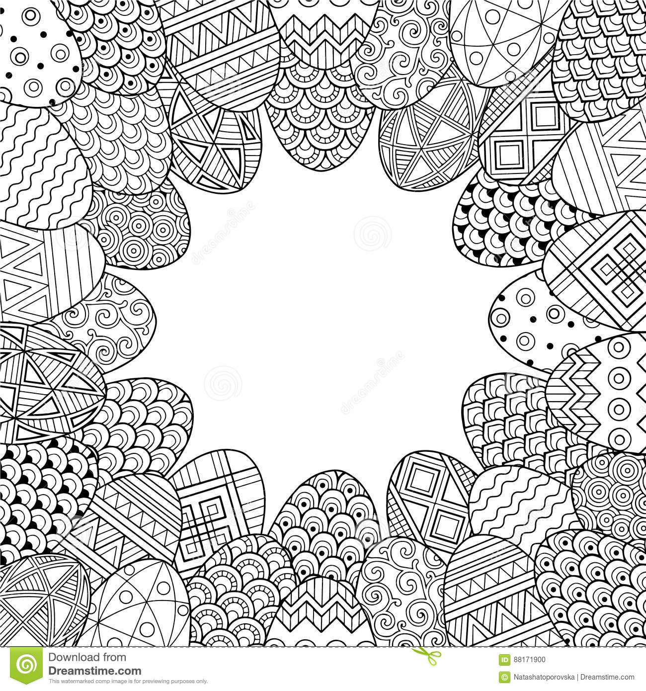 Happy easter. Round Vignette of Black and White Doodle Easter Eggs. Coloring book for adults for relax and meditation. Vector isol