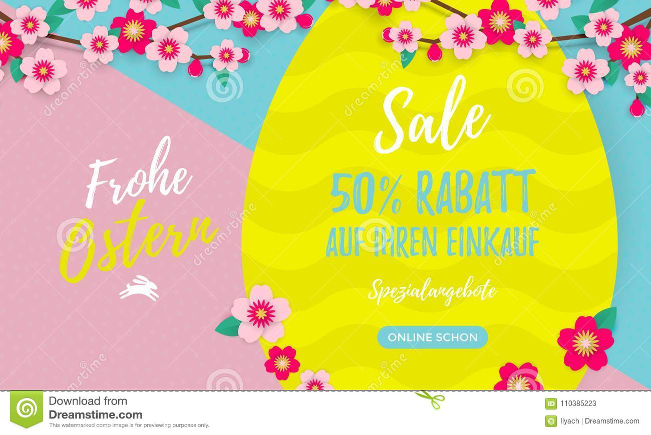 Happy Easter Sale German Poster With Paper Cut Easter Egg And Cherry