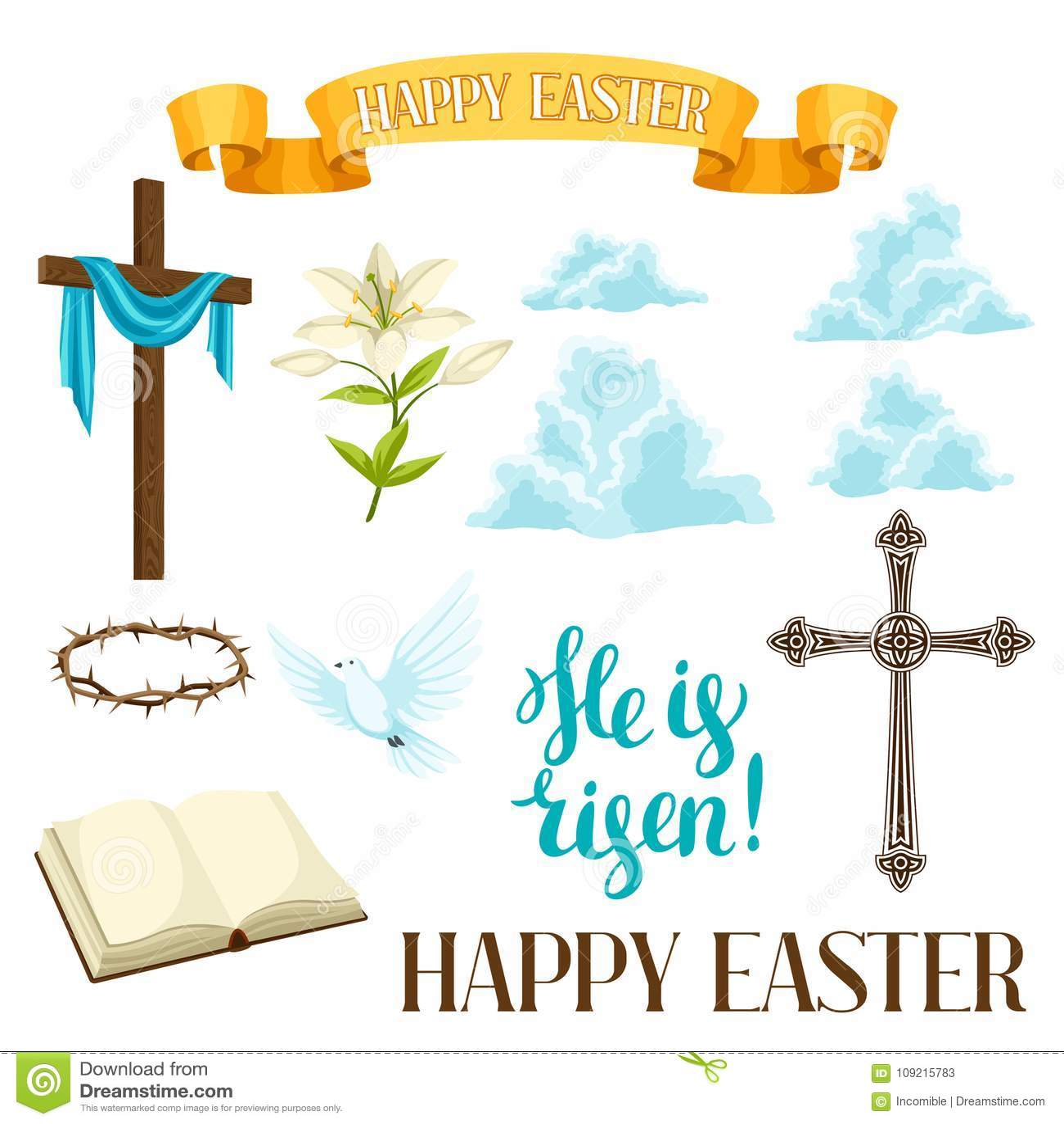 Happy Easter Set Of Decorative Objects Religious Symbols Of Faith