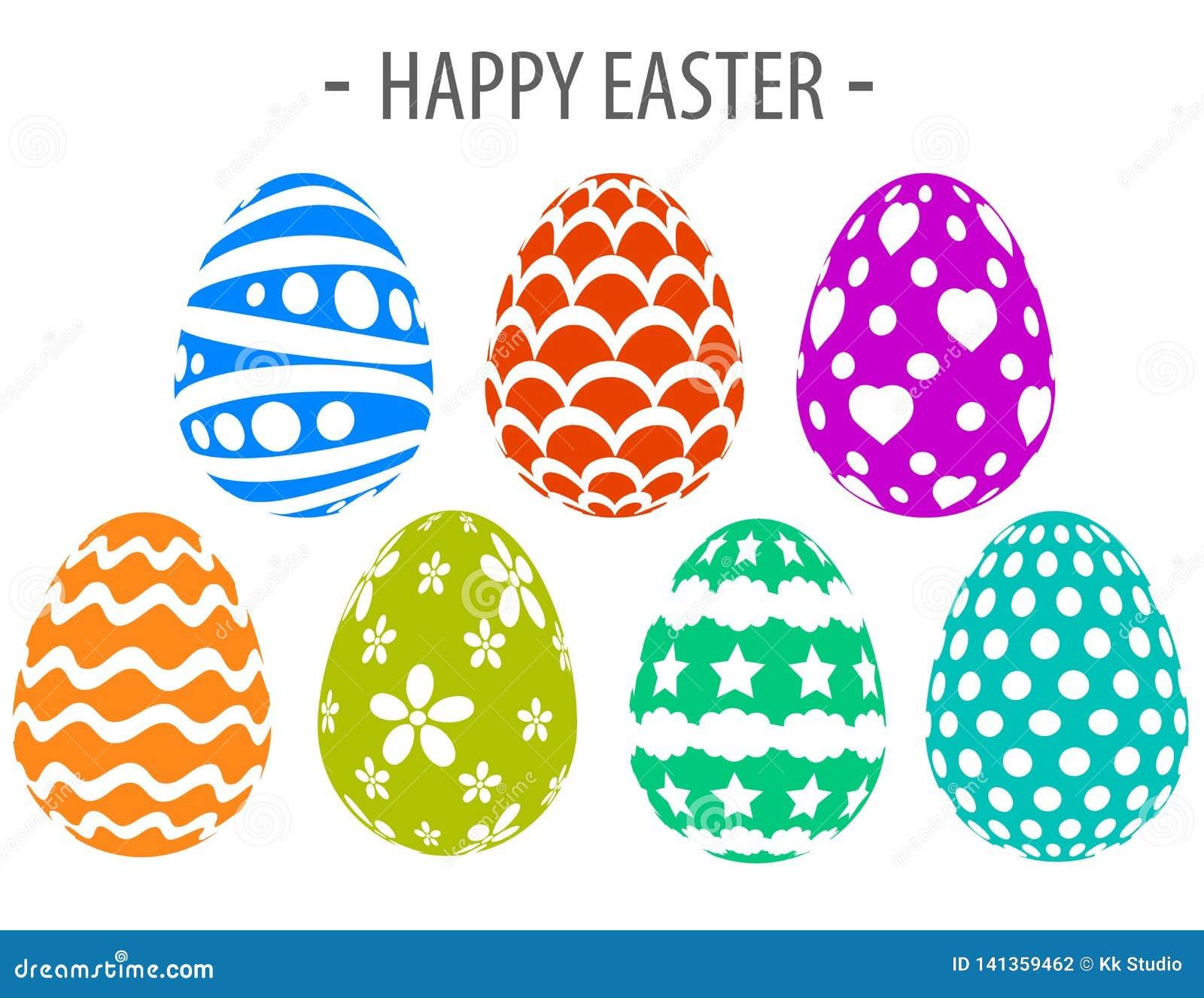 Happy easter silhouette paint eggs creative design