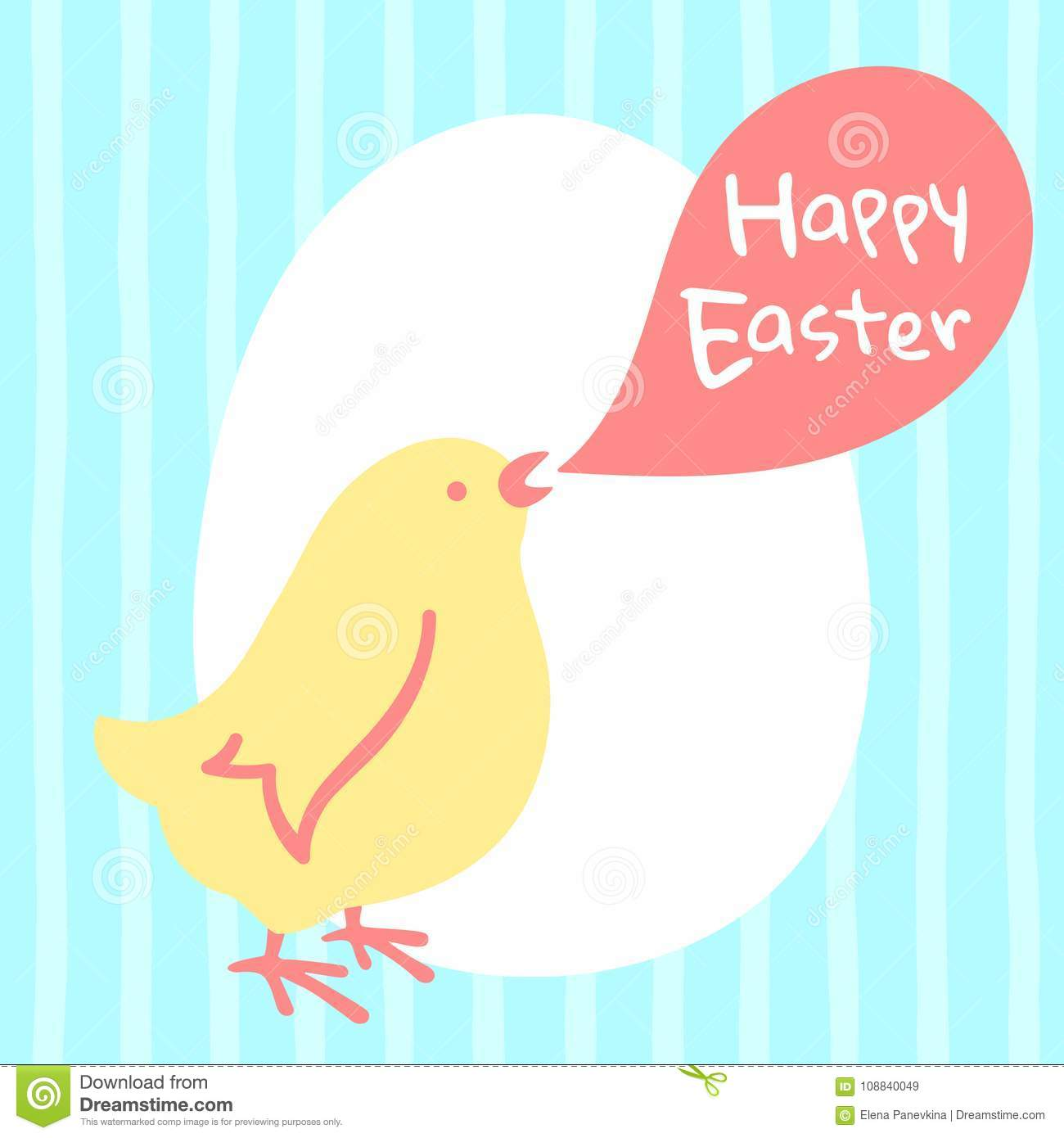 Happy easter greeting card with chicken egg lettering stock vector happy easter simple illustration greeting card with chicken and lettering cute chick with speech bubble egg silhouette and greetings m4hsunfo