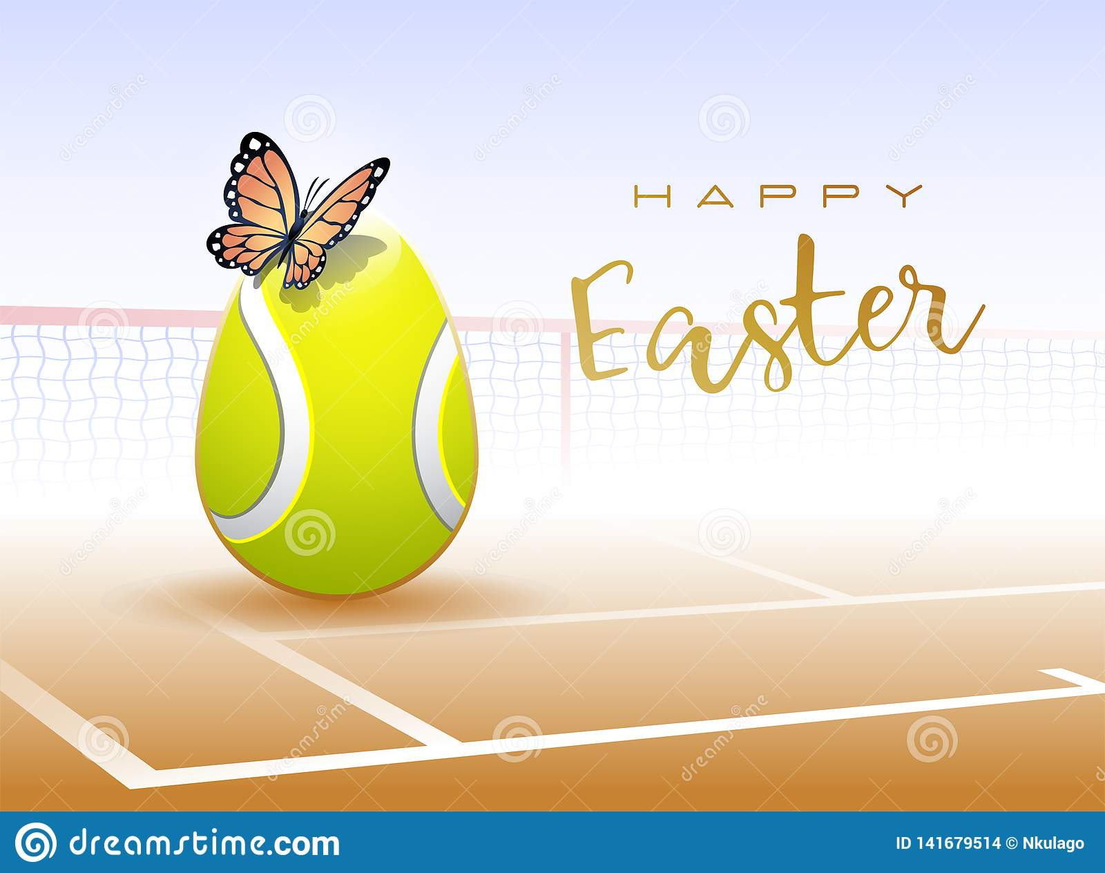 Happy Easter sports greeting card. Tennis