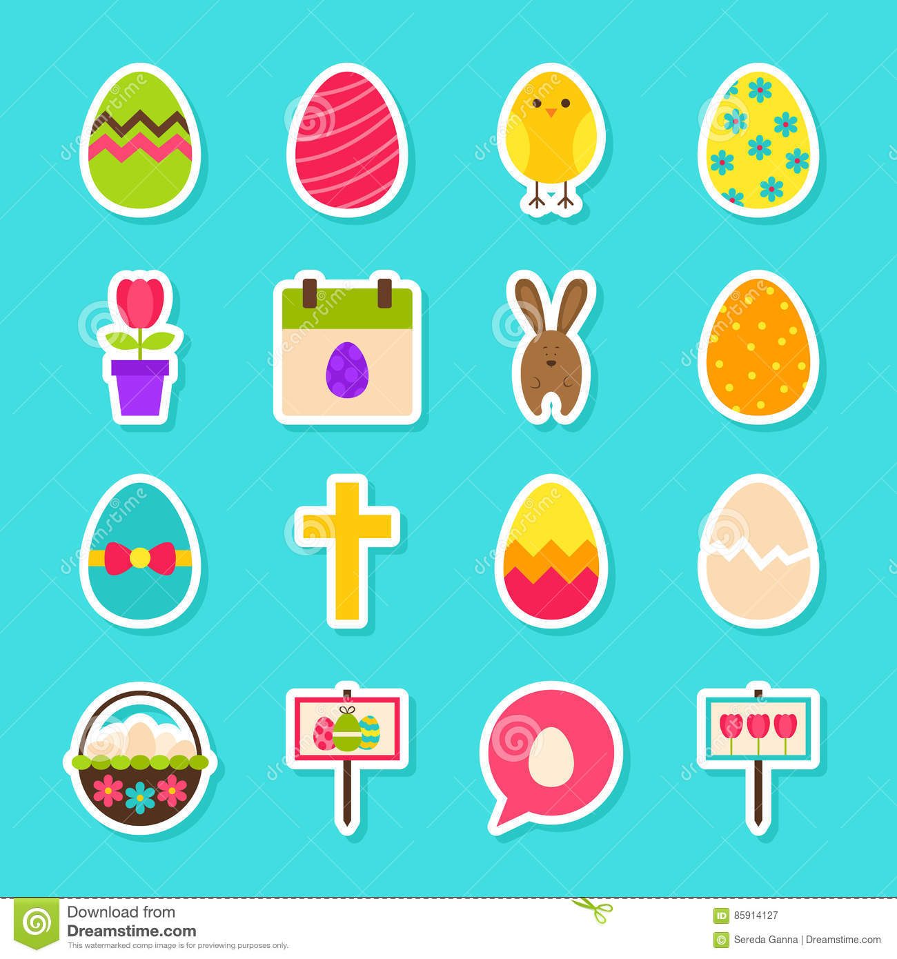 Happy Easter Stickers Stock Vector - Image: 85914127