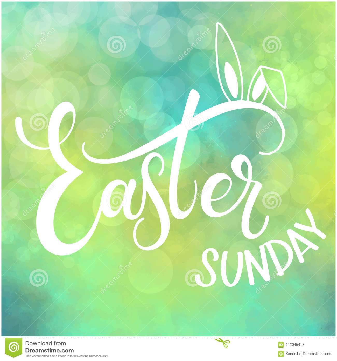 Happy Easter Sunday Colorful Lettering Stock Vector Illustration
