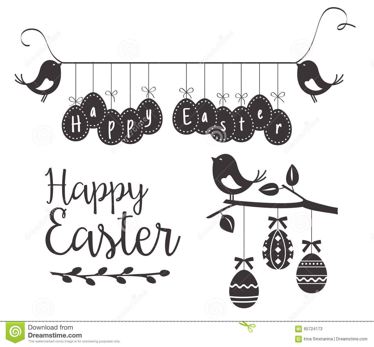 happy easter template with birds and eggs stock vector